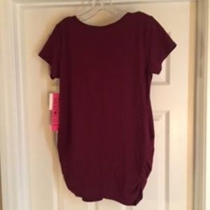 Free Kisses Tops - FREE KISSES BURGUNDY/GOLD BLESSED MATERNITY TOP